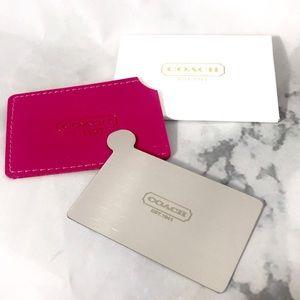 NEW Coach mini pocket mirror hot pink w case